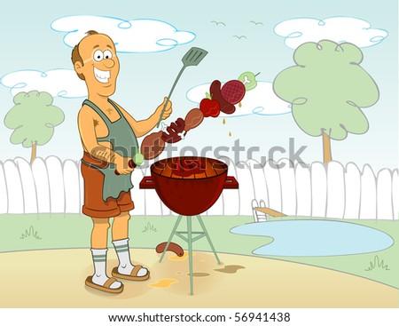 Barbecue cartoon cook - stock vector
