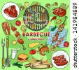 Barbecue collection. Set of Grill party elements, isolated - stock vector