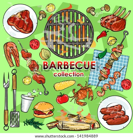Barbecue collection. Set of Grill party elements, isolated - stock ...