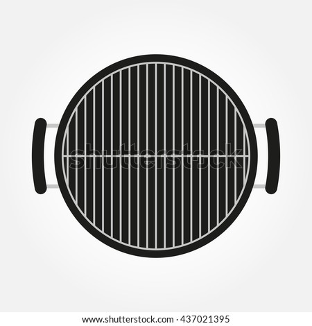 Barbecue grill icon. Top view of bbq. Vector illustration. - stock vector