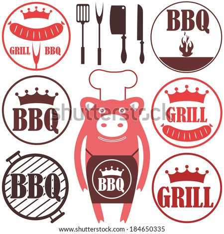 Barbecue Grill. Icon. Vector. Silhouette. Sign. Set