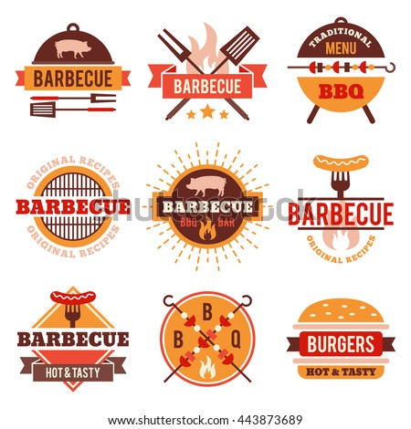 Barbecue, grill labels, badges, logos, emblems, signs, set of vector templates isolated on white background. Bbq restaurant design elements, business identity templates.
