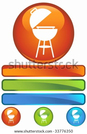 barbecue grill orange round