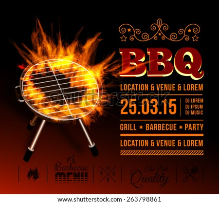 Barbecue grill party. Vector illustration with fire on dark background - stock vector