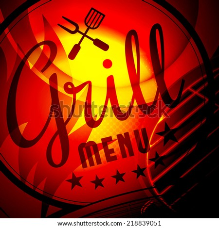 Barbecue grill vector illustration on fire background - stock vector