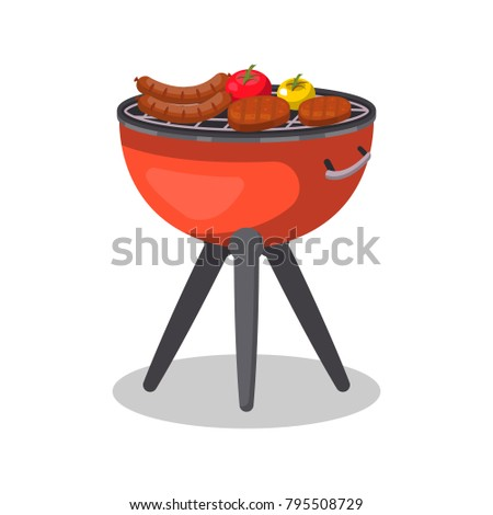 Barbecue grill with food isolated icon. BBQ party, traditional cooking food, restaurant menu element vector illustration.