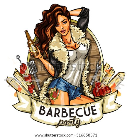 Barbecue label with pretty woman holding beer, isolated on white - stock vector