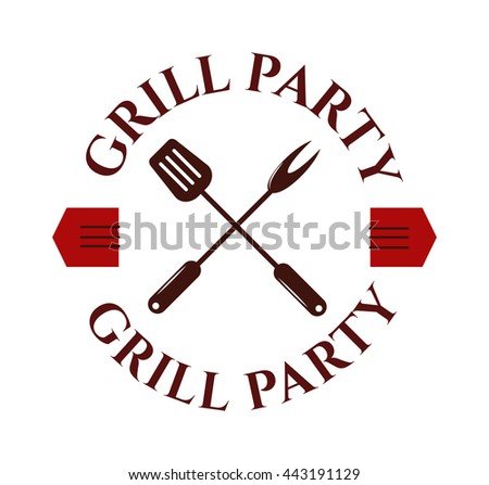 Barbecue logo and grill label, badge and emblem. BBQ logo vector template isolated on white background. Steak house restaurant menu BBQ logo design element. Food logo design. - stock vector