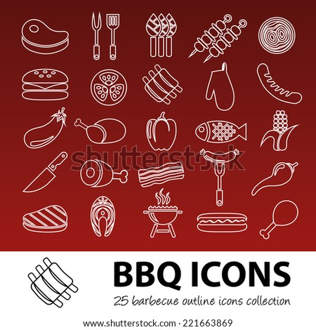 barbecue outline icons - stock vector