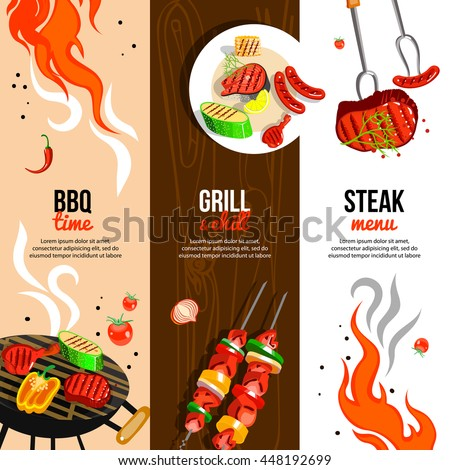 Barbecue party 3 flat vertical banners set with grilled steak sausages and vegetables abstract isolated vector illustration  - stock vector