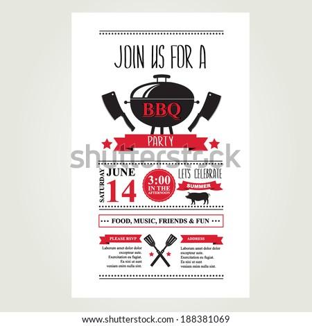 Barbecue party invitation. BBQ brochure menu design.  - stock vector