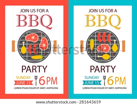 Barbecue party invitation. BBQ template flyer, vector illustration - stock vector