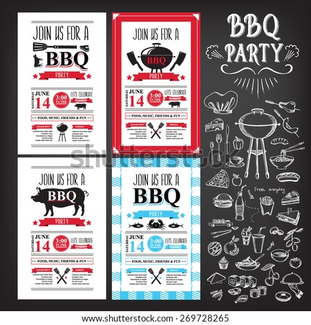 Barbecue party invitation. BBQ template menu design. Food flyer. - stock vector