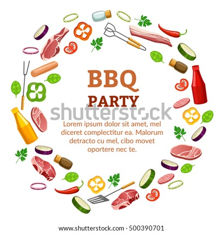Barbecue party poster.  isolated on white background.