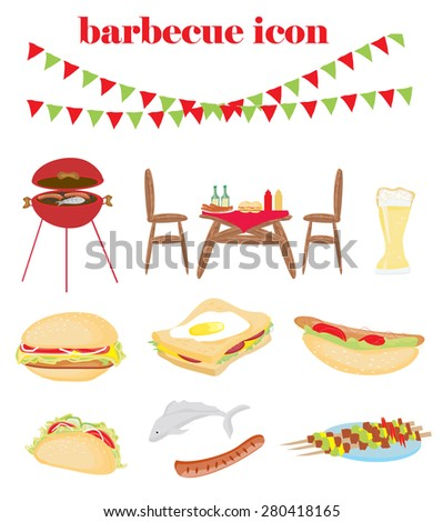 Barbecue Party - set of icons - stock vector
