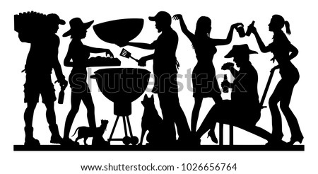 barbecue party silhouette silhouette image unique stock. Black Bedroom Furniture Sets. Home Design Ideas