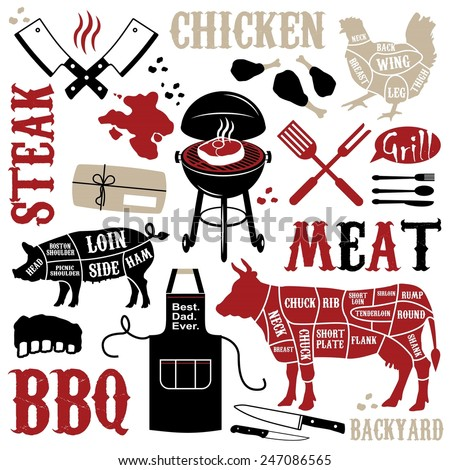 Barbecue pattern with meaty icons - stock vector
