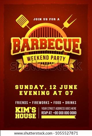 Barbecue Poster Flyer Template Invitation Design Stock Vector ...