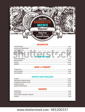 barbecue restaurant menu template design bbq stock vector 481200337 shutterstock. Black Bedroom Furniture Sets. Home Design Ideas