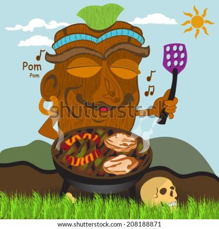 barbecue Tiki statue - stock vector