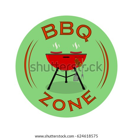 Barbecue zone or BBQ rest area sign design. Vector illustration.
