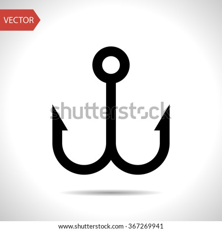 Barbed fish hook vector icon - stock vector
