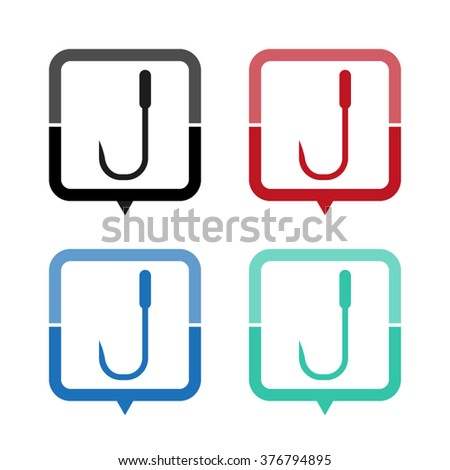 Barbed fish hook - vector icon; map pointer;  message bubble - stock vector