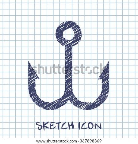 Barbed fish hook vector sketch icon  - stock vector