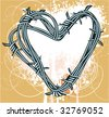 Barbed heart. Vector. - stock photo