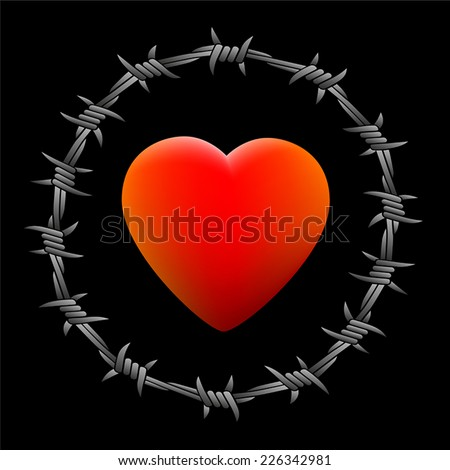 Barbed red glowing heart. Isolated vector illustration on black background. - stock vector
