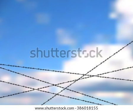 Barbed wire against blue sky. Protection or security vector concept. Sky bounded by barbed wire. The lack of freedom behind barbed wire. Metallic fence for barrier or property protection against sky - stock vector