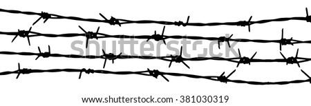 Barbed wire background. Vector fence illustration isolated on white. - stock vector