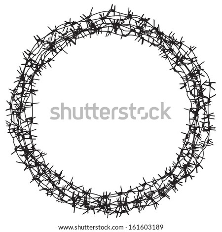 Barbed wire , black and white round border, frame - stock vector