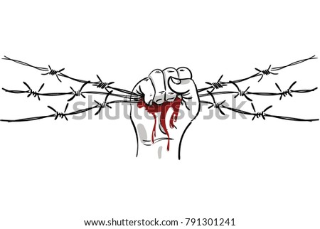 Barbed Wire Clenched Fist Illustration On Stock Vector 791301241 ...