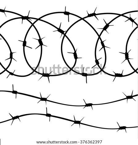 Barbed Wire Elements Silhouette On White Stock Photo (Photo, Vector ...