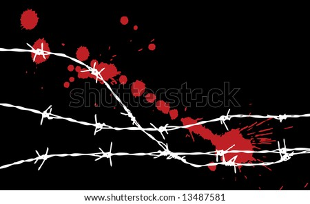 barbed wire silhouette with some spots - stock vector