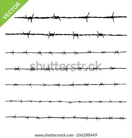 Barbed wire silhouettes vector  - stock vector