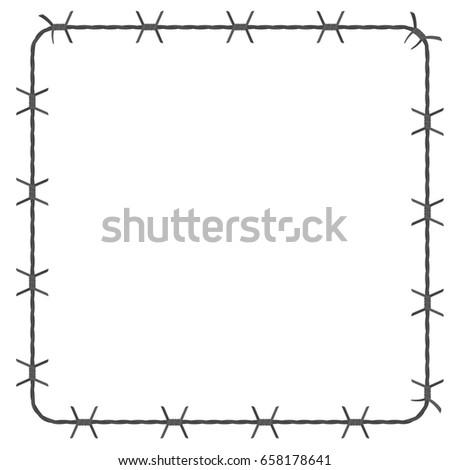 Barbed Wire Square Border Vector Illustration Stock Vector 658178641 ...