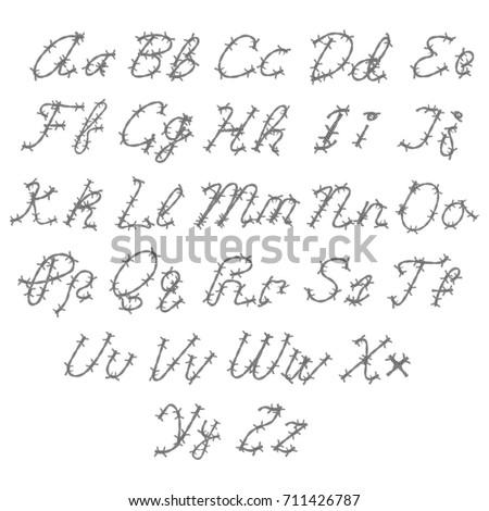 Barbed Wire Vector Font Type Alphabet Stock-Vektorgrafik 711426787 ...