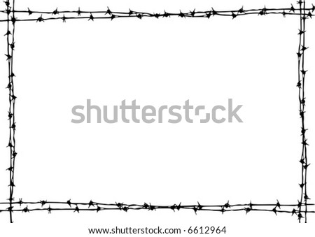 Barbed wire vector grunge border. - stock vector
