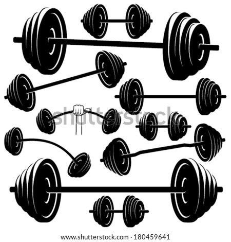 Barbell silhouettes on white isolated background - stock vector