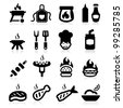 Barbeque icons set elegant series - stock photo