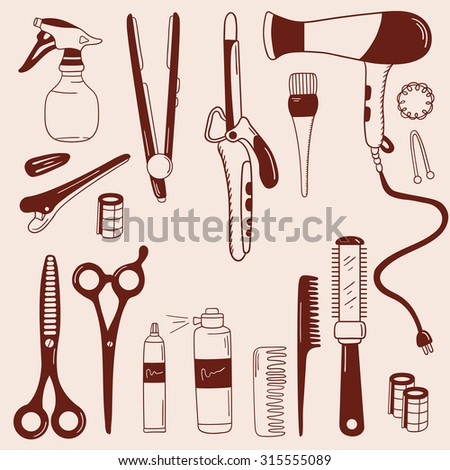 Barber and barbershop hand drawn icon set. Doodle hairdressing tools vector collection. Barber shop, hairdressing supplies. Sketch objects professional accessories - stock vector