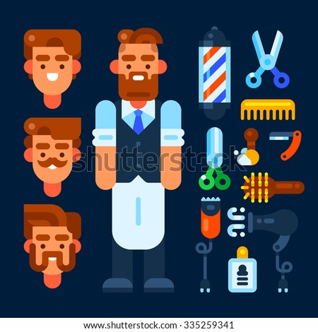 Barber and his stuff. Vector flat illustration. Isolated objects. - stock vector