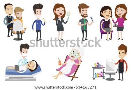 Mother Baby Illustration Collection Baby Feeding Stock