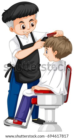 barber giving boy haircut illustration stock photo photo vector rh shutterstock com barber clippers argos barbers clip art