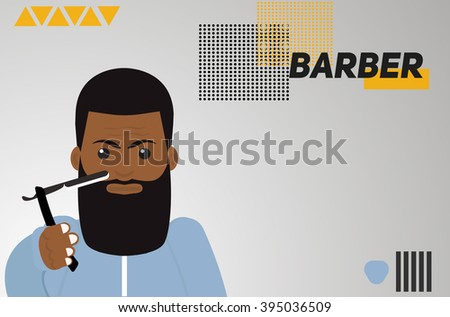 Barber hipster black man with a razor in his hand cautiously. minimalistic banner with Barber hipster man.  Black man hipster. Black Barber.Abstract minimalistic background with geometric elements - stock vector