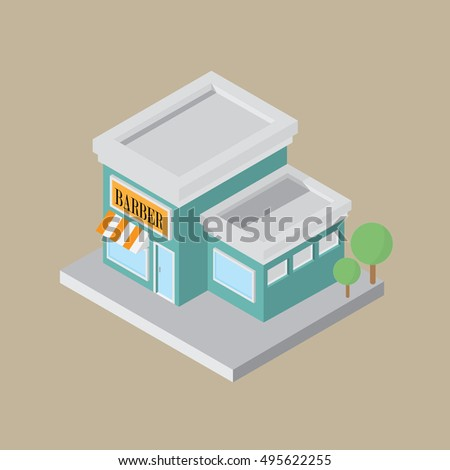barber in an isometric style, 3D