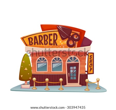 Barber shop building with bright banner. Vector illustration. - stock vector