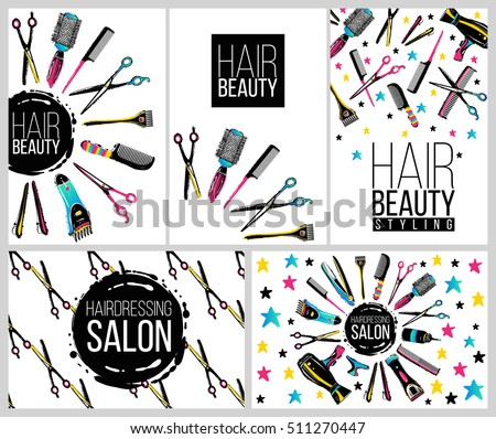 Barber Shop Haircut Beauty Salons Banners Stock Vector